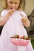 Small girl eating strawberries
