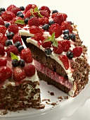 Chocolate cake with quark filling and berries