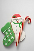 Christmas biscuits (snowman, boot) and candy cane