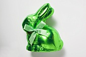 Chocolate bunny in green foil
