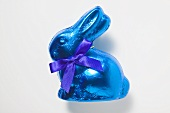 Chocolate bunny in blue foil