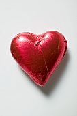Chocolate heart in red foil