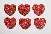 Chocolate hearts with sprinkles
