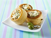 Puff pastry cases with a savoury filling
