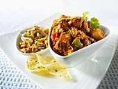 Jalfrezi (spicy meat curry, India) with rice