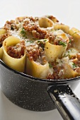 Cannelloni with mince filling and cheese topping