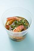 Prawns in olive oil with cress