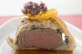 Loin of venison in white bread crust