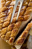 Roast belly pork with crackling, from above
