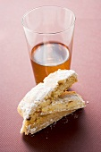 Cantucci (Italian almond biscuits) and glass of Vin Santo