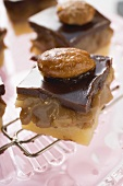 Chocolate toffee shortbread with walnut toffee and almonds
