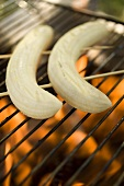Bananas on barbecue grill rack