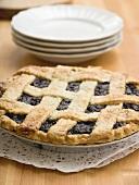 Blueberry pie with pastry lattice