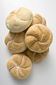 Various types of bread rolls