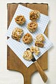 Balls of Obatzda (Camembert spread) with pretzels on board