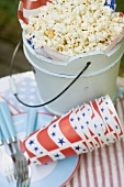 Popcorn in a wooden bucket for the 4th of July (USA)