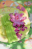 Summer party decorations: water lily, paper plates, plastic forks