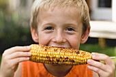 Kleiner Junge isst gegrillten Maiskolben