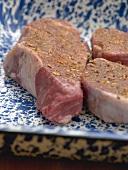 Beef steak and medallions, seasoned