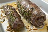 Beef roulades with herbs and pine nuts
