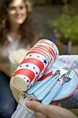 Hands holding picnic things for the 4th of July