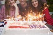 Young people behind cake with sparklers (4th of July, USA)