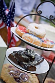 Doughnuts, brownies & pie on tiered stand (4th of July, USA)