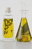 Two different herb oils in bottles