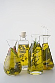Four different herb oils in bottles