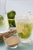 Caipirinha with lime and cane sugar