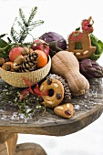 Christmas still life: fruit, vegetables, nuts & gingerbread