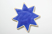 A star cookie with blue icing