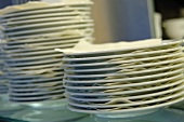 Several piles of plates