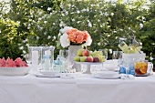 Table laid for a summer party (out of doors)