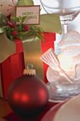 Christmas gift, Christmas bauble and glass snowman