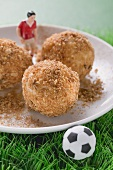 Apricot dumplings with football figure and football