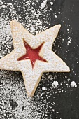 Jam biscuit with icing sugar