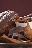 Cacao fruit, cocoa powder and chocolate
