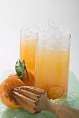 Citrus fruit and crushed ice in two tall glasses