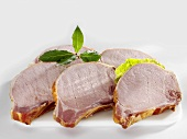 Several smoked pork chops