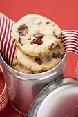 Chocolate chip cookies with cranberries in biscuit tin