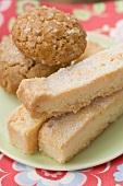 Biscuits and shortbread on plate
