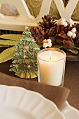 Christmas table decorations (Christmas tree, candle)