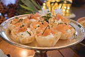 Salmon in filo pastry shells (Christmas)