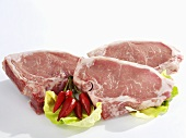 Three fresh veal chops
