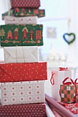 A pile of Christmas gifts in boxes