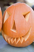 Carved pumpkin face for Halloween
