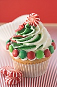 Cupcake for Christmas with peppermints