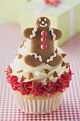 Cupcake with gingerbread man for Christmas