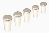Five paper cups